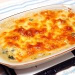 缶詰で手早くパパッと調理 鮭と春菊のマカロニグラタン