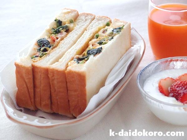 菜の花の卵とじのサンドイッチ