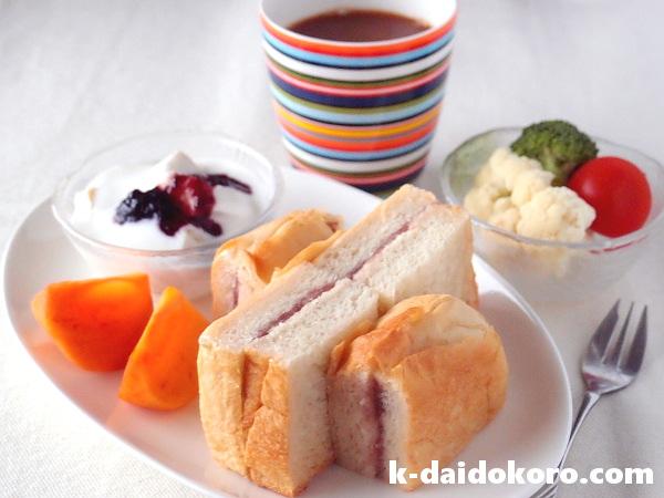 りんごバターと餡子のサンドイッチ