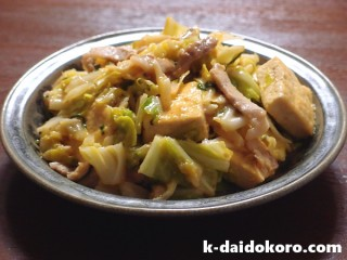 キャベツと豆腐の辛みそ炒め