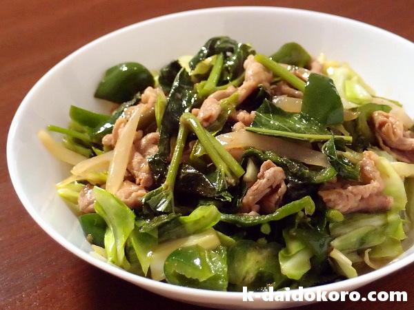 明日葉と豚肉の炒め物