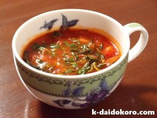 モロヘイヤたっぷりのトマトスープ