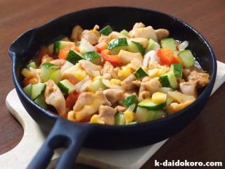 鶏肉と胡瓜のマヨネーズ炒め