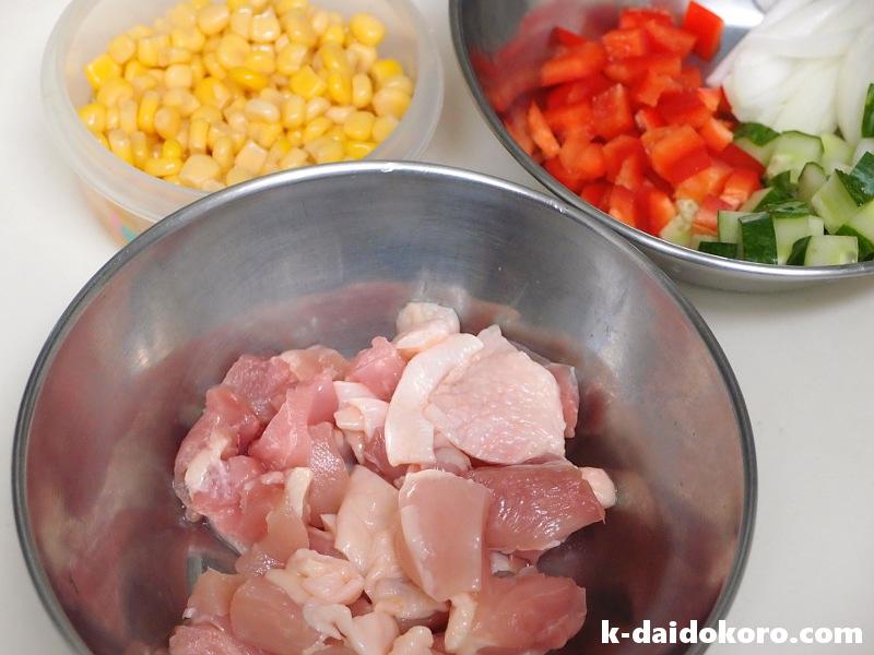 鶏肉と胡瓜のマヨネーズ炒めの材料