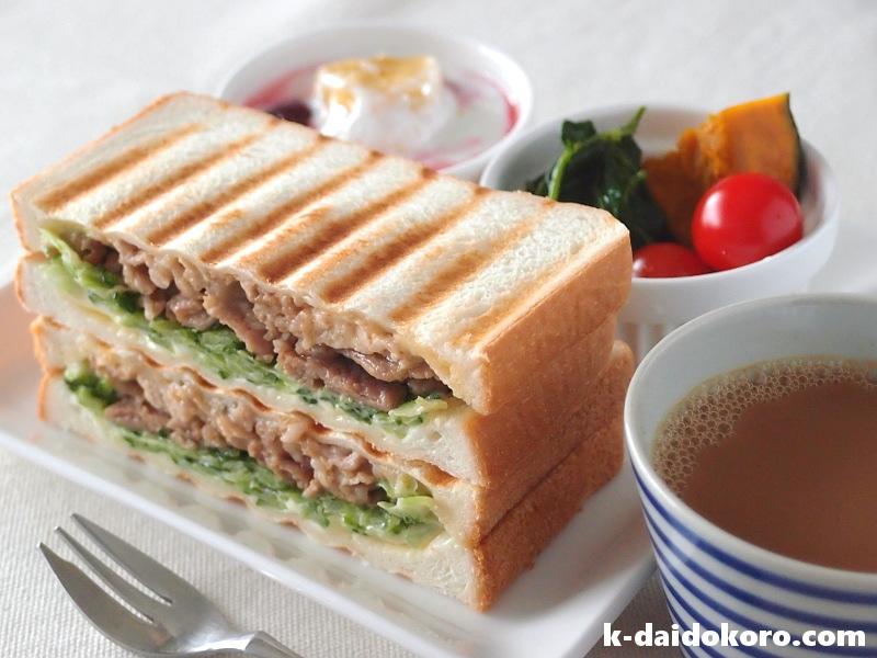 ゴーヤーと焼肉のサンドイッチ