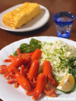 赤いウインナーと卵焼き