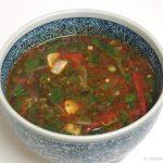 カレー風味のとろ~りトマトとモロヘイヤのスープ