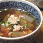 スイカの皮で美味しいスープ
