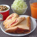 チーズたっぷり、トマトと卵のホットサンド ~ おそとで楽しむ♪プレジデントチーズレシピ