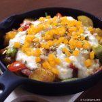 ジャガイモとオクラのサブジ風 カマンベールソース ~ おそとで楽しむ♪プレジデントチーズレシピ