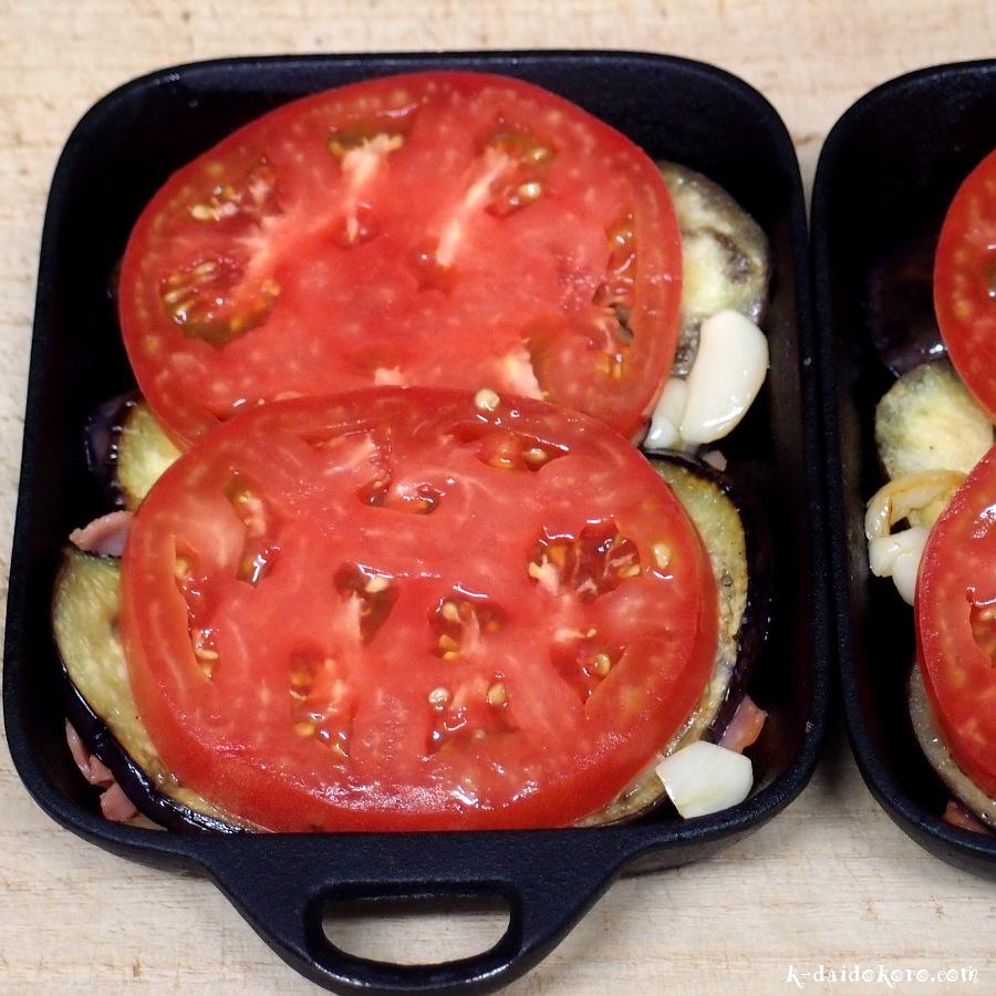 ナスとトマトの重ね焼き 作り方