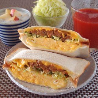 納豆と卵のホットサンド