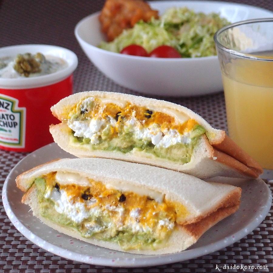 カボチャサラダとカッテージチーズのホットサンド