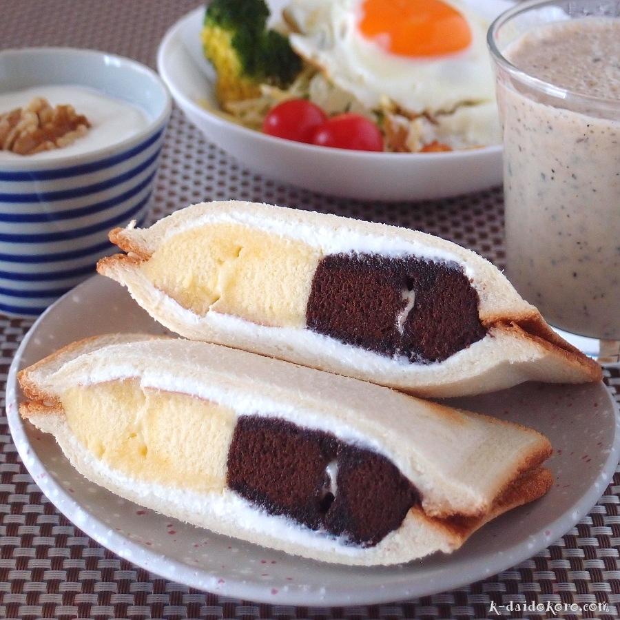 ヤマザキ北海道チーズ蒸しケーキのホットサンド