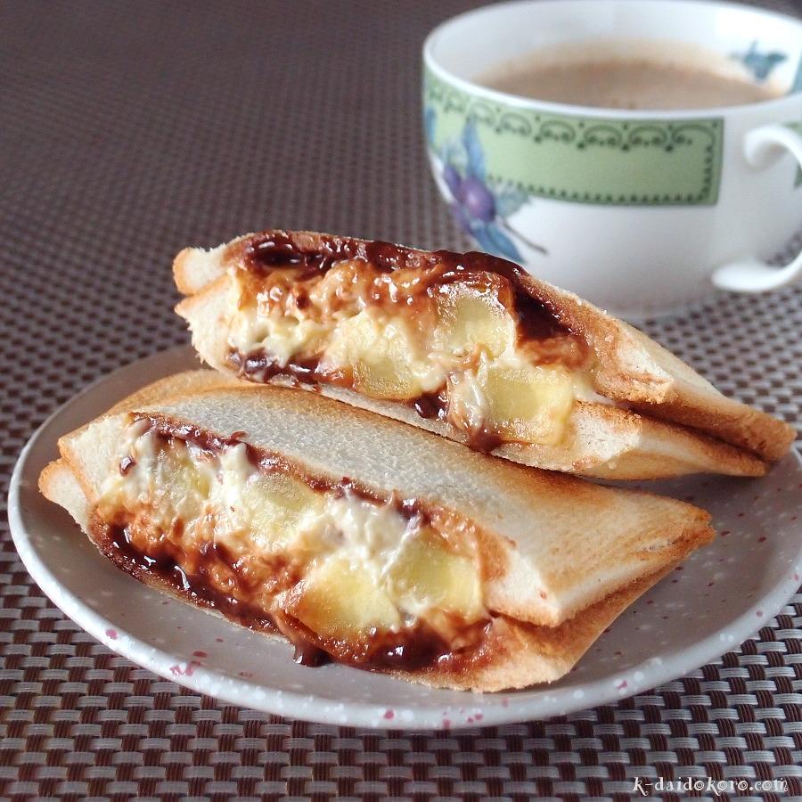 焼き芋とバナナクリームのホットサンド